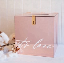<strong>Hot</strong> Sale Customized Size rose gold Acrylic Charity Donation Box Wedding Wishing Well box