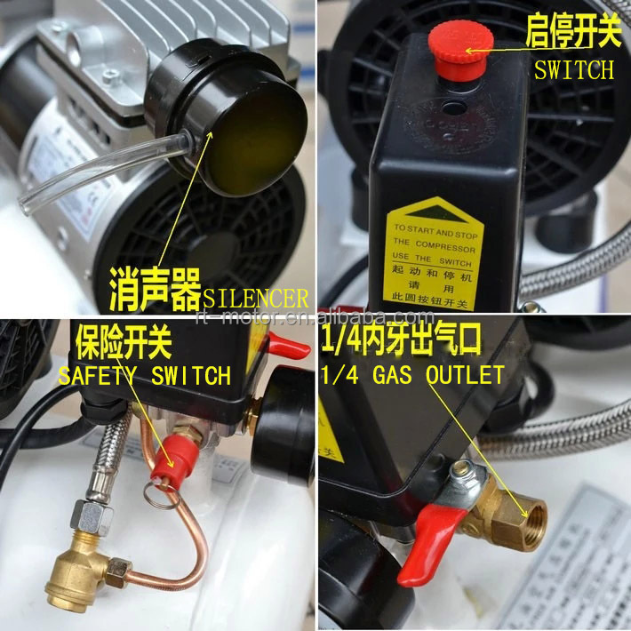 1hp air compressor price with piston air motor oil free