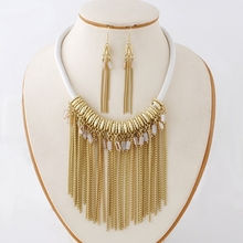 Factory cheap sales 18k indian gold plated necklace set, gold tassels jewelry sets