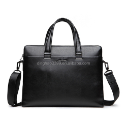 Custom top class black genuine leather mens briefcase with long shoulder strap