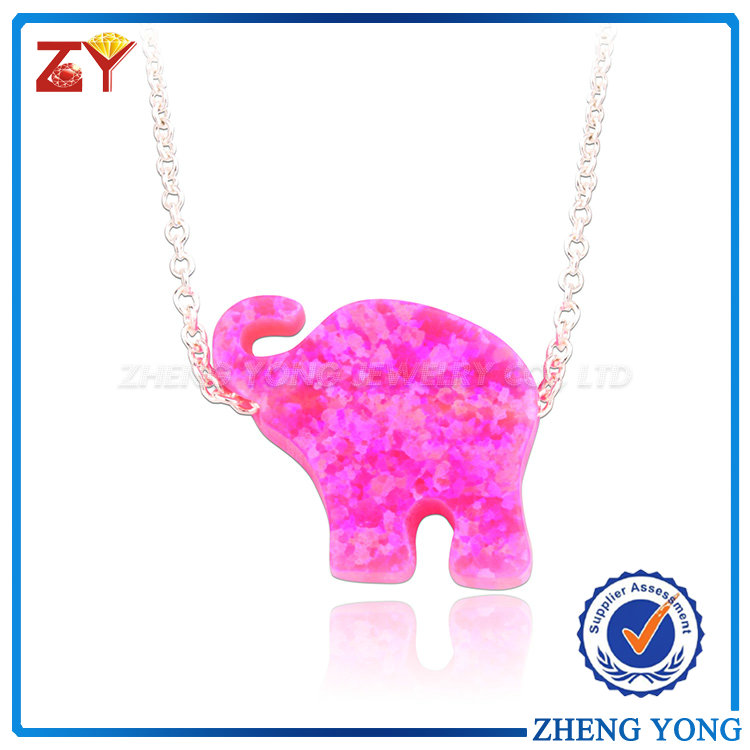 Fashion 925 Silver Opal Elephant Shape Blue Fire Opal Jewelry