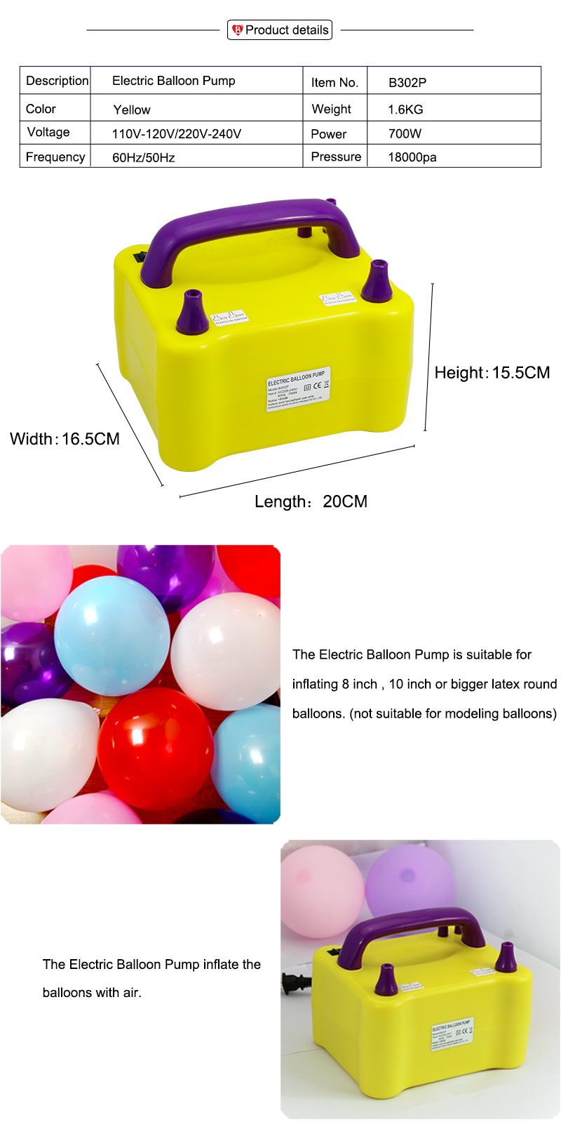 B302P Party Decoration Two Nozzles 700W Electric Balloon Air Pump