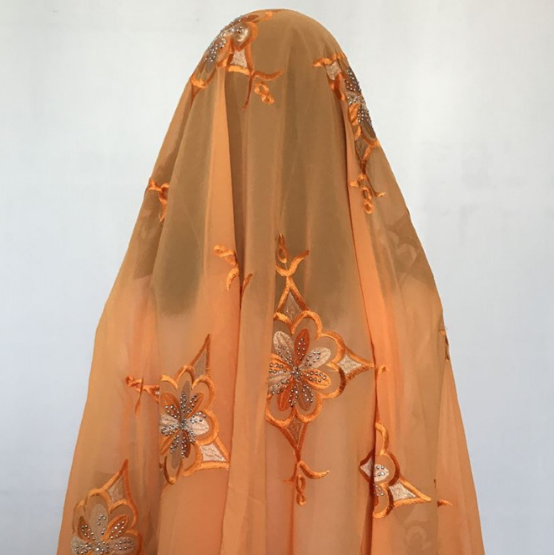 AS70810 African orange fashion style lady net <strong>scarfs</strong> with lace flowers