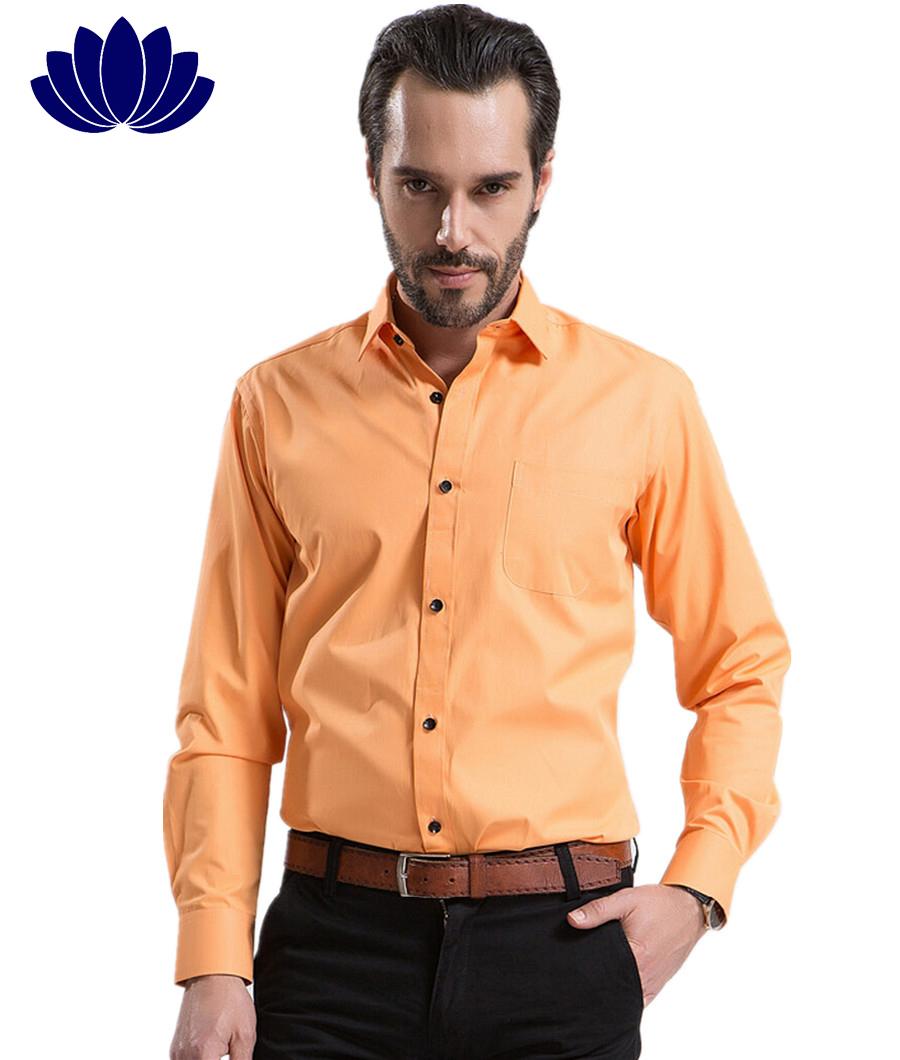 Buy 2015 Fashion Men Dress Shirts Orangelong Sleevepure Color
