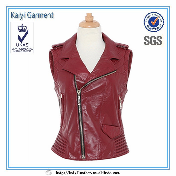 2016 Sexy red leather women fashion jacket no sleeve