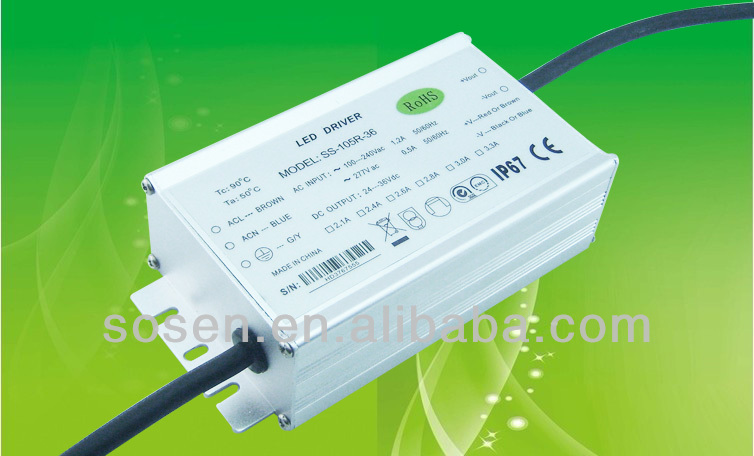 105w 3000mA constant current led driver with ip67 waterproof
