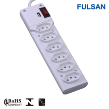 Brazil 6 Outlets Extension Socket /Power Strip/Electrical Plugs & Sockets with switch and USB Port