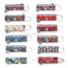 Round Calico Washed Cloth Pencil Bag Pencil Case Pouch For Kids GC004 (OEM ODM)