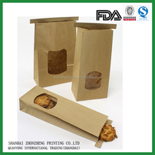 Brown craft paper bag with window for cookie packaging
