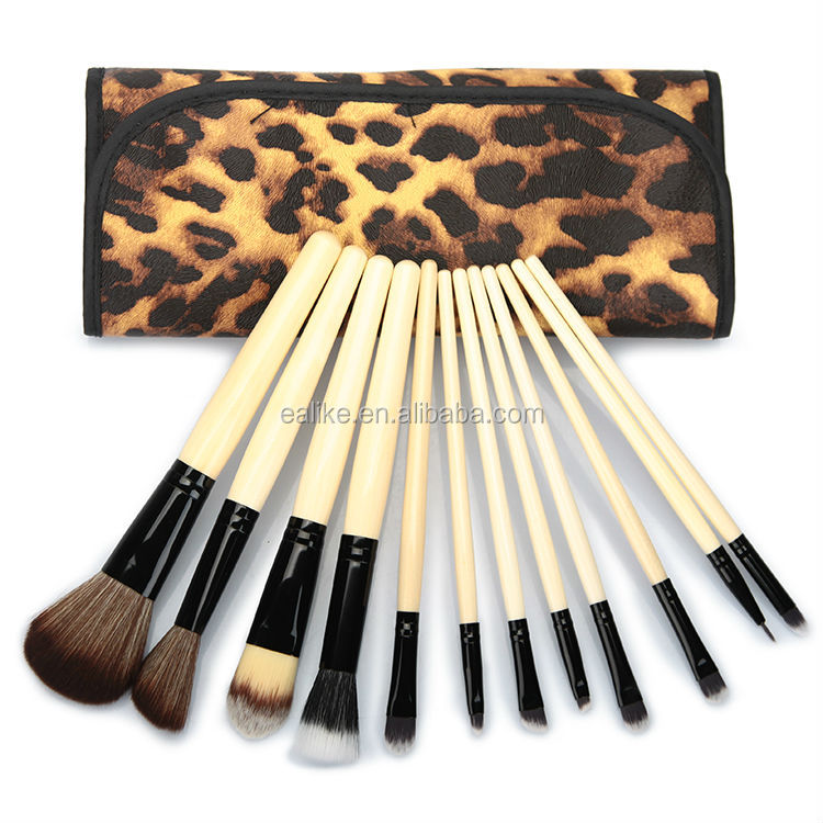 Wholesale 2014 Hot make up brush Free Sample professional Leopard Case custom made makeup brushes