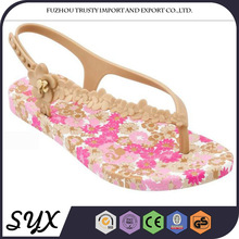 Pink Pvc Thong Strappy Latest Lady Flat Sandal In China