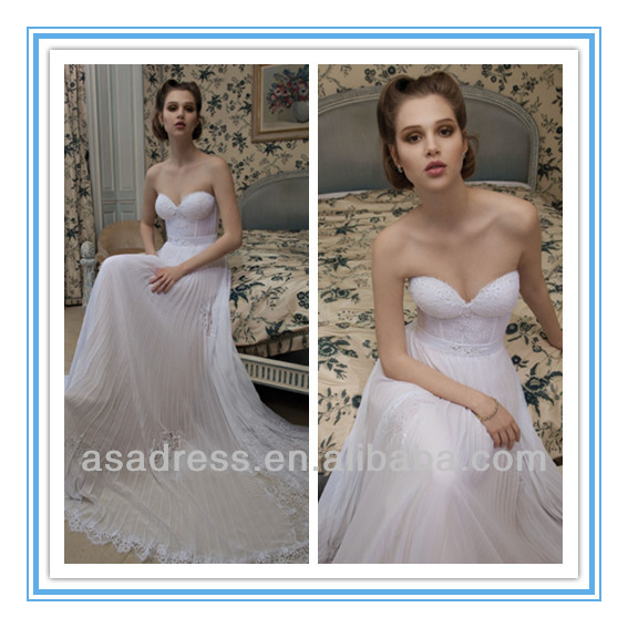 2014 New Style Deep Sweetheart Neckline A line With Strapless Quality Made Designer Lace Wedding Dresses (WDID-1011)