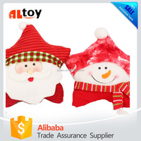 Red Star Plush Christmas Pillow Santa and Snowman Cushion Toy