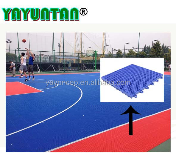 Hot selling anti-slip pp interlocking sport tiles outdoor basketball court flooring