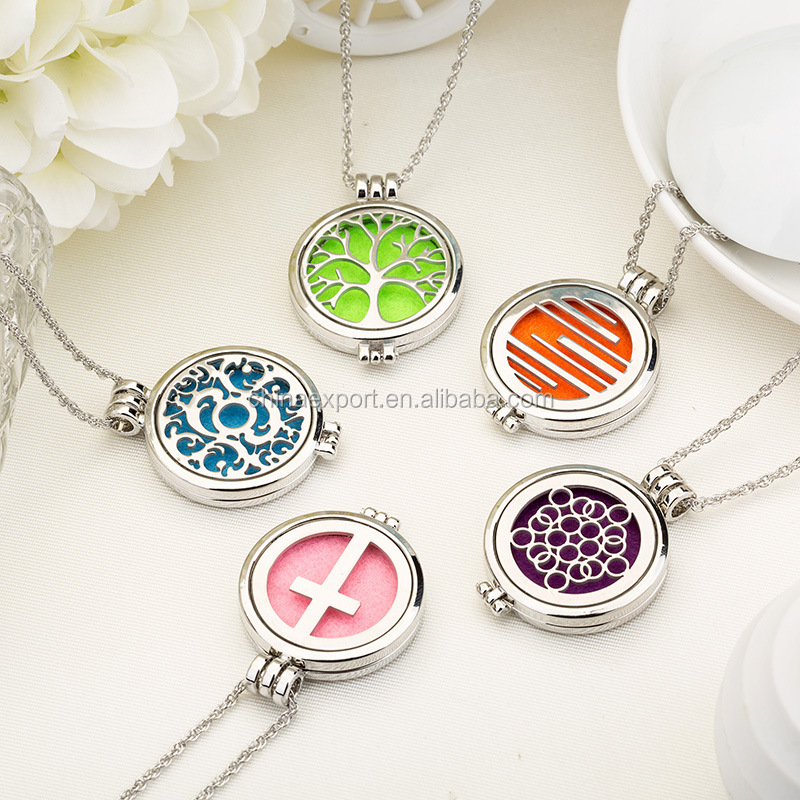 Stainless steel Mood expression aroma diffuser pendant necklaces jewelry