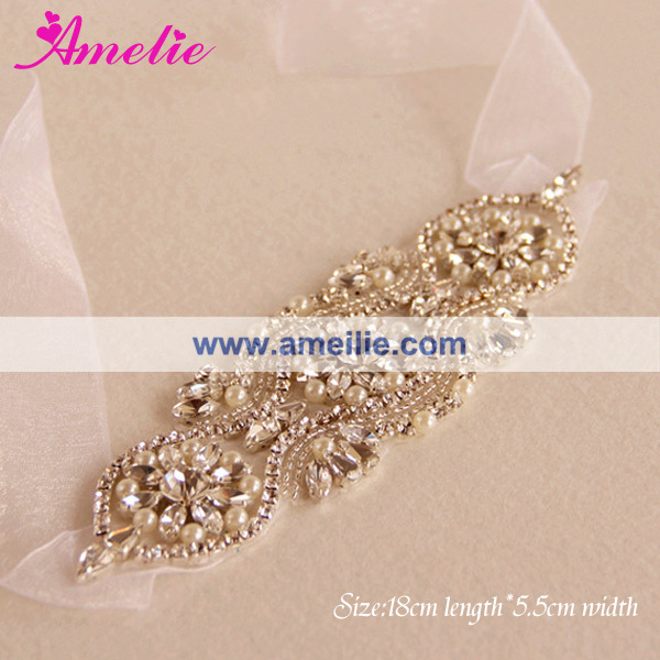 Rhinestone Beaded Wedding Hairband and Dress Sash Accessories
