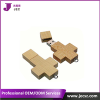 Wooden cross shape usb flash drive Model JEC-361