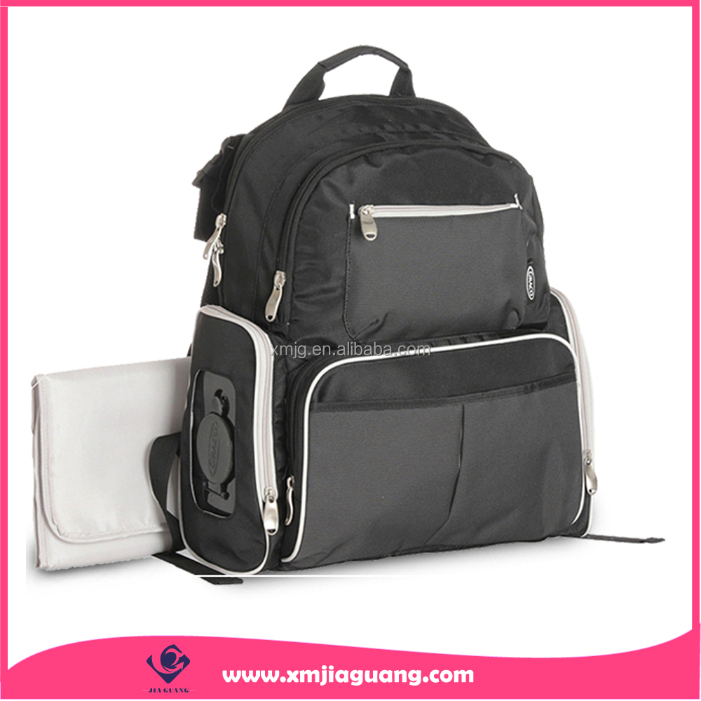 Top selling black diaper bag backpack mommy bag with diaper changer pad