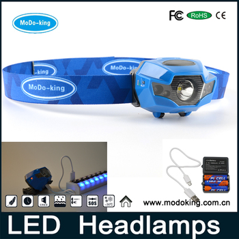 Night Walking Running LED Headlights Head Torch Rechargeable with USB Charger