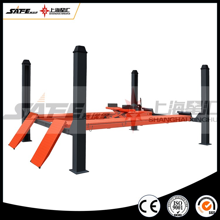 Hot sale 4 post four post car lift with rolling jack