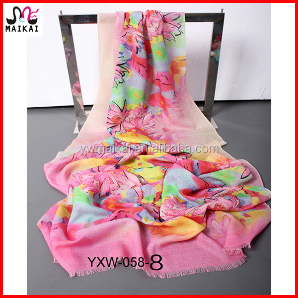 Beautiful girls floral print wool pashmina scarf and shaw