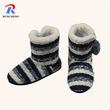 new design winter warm women flat striated snow boots shoes