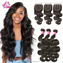 8A Grade Virgin Hair With Closure Body Wave Human Hair Weave Bundles Mink Brazilian Hair Brazilian Body Wave With Lace Closure