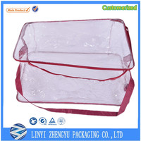 custom pvc bag with red zipper two rope handles storage bag