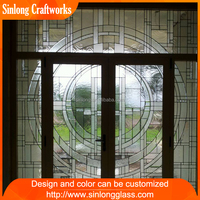 New Home Decoration 19mm thickness classical colored stained glass door