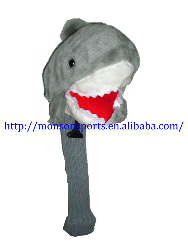 custom design plush shark golf culb head covers with sock