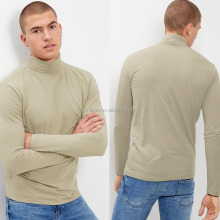Men's High Neck Fancy Tshirts Polyester Cotton Mix Stretch Roll Neck Top Fashion Long Sleeves Turtle Neck Shirt
