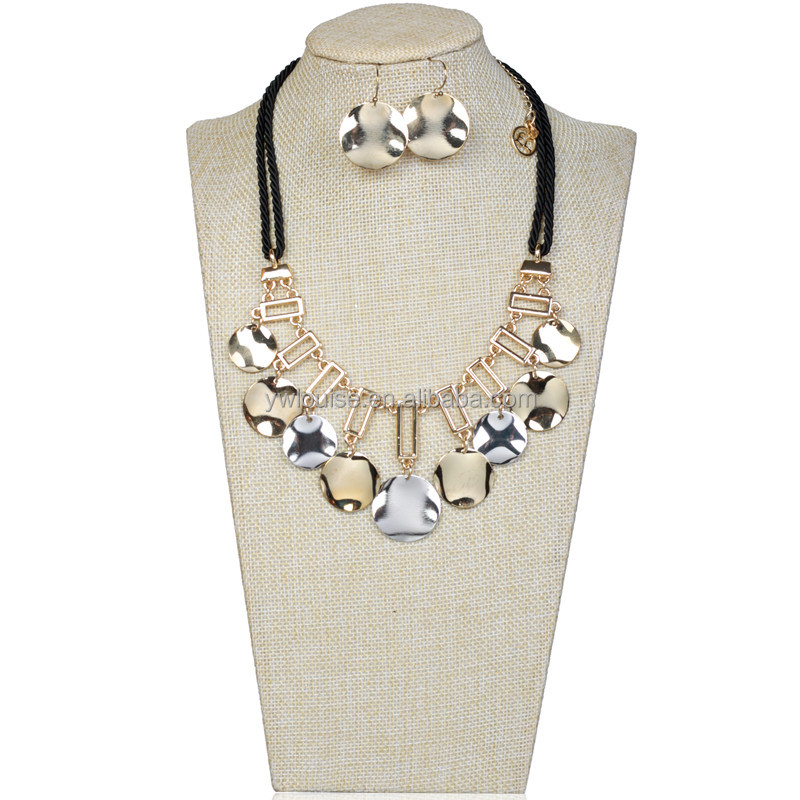 2016 New Fashion Women Classical Design cord necklace Set Jewelry Gold