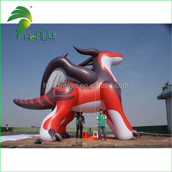 Huge Cartoon Toy Inflatable Red Dragon For Riding