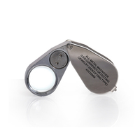 BIJIA 40X Silver Mini Pocket Microscope Magnifier LED Jeweler Loupe