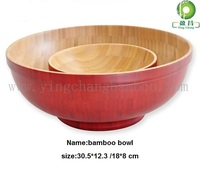 Large Bamboo flat bottom round salad bowl with stand