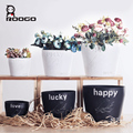 Roogo polyresin birds picture word round flower pots stand for garden decoration