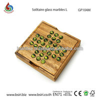 Glass Marble Solitaire wooden Game