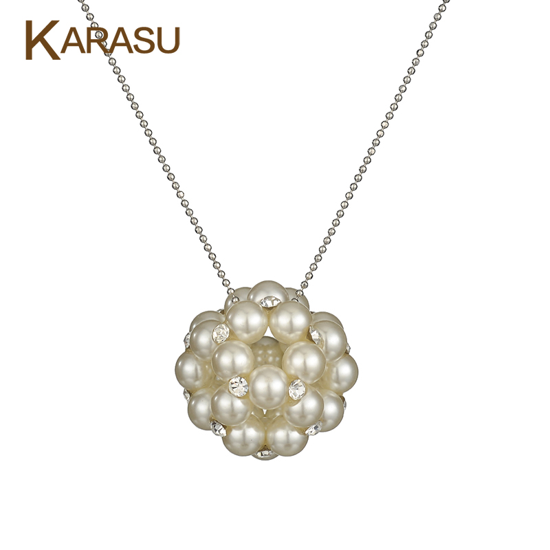 Elegant Simulated Pearl with Round Tiny Austrian Crystal Hollow Ball Pendant Real White Gold Plated Necklace for Women Jewelry