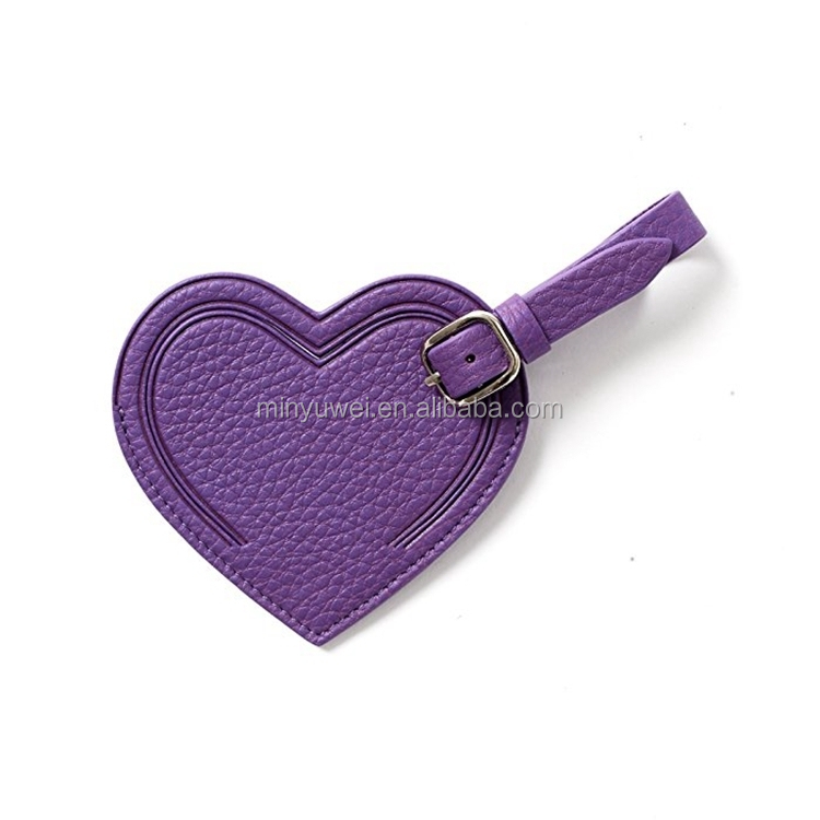 Purple heart shaped luggage tags for new couples full grain leather travel luggage tags brand suitcase tags