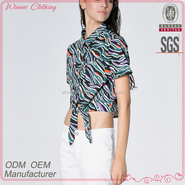 Custom OEM Service women all over printed swallow tail short sleeve lady blouse & top with stand collar