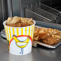 2015 Costom logo printed fried chicken bucket with paper lid take out fried chicken container