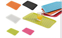 2016 New Food Safe Plastic Rectangular Double Layer Non-slip Serving Tray