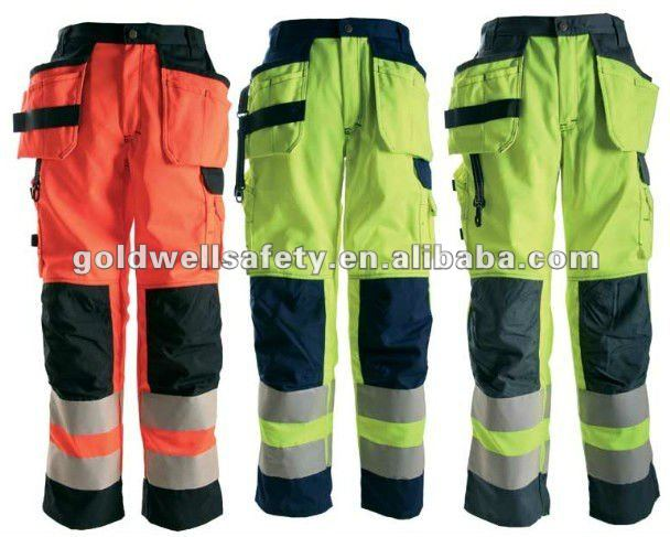 Men's high vis trousers reflective tap work safety pants with knee pad