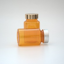 Factory for sale, 120ml yellow plastuic pills medicine pharmaceutical round metal cap packaging bottle