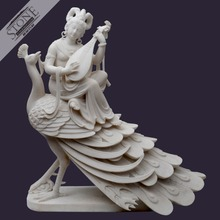 Oriental style hand carved Peacock and fairy maiden white stone buddha statue