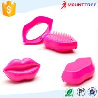 New Style Professional Lip Shape Customized Head Massage Styling Care Easy Carry Hair Comb With Mirrow