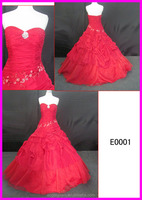 2014 guangzhou lace up back red color sweetheart taffeta ball wedding gowns with heavy beading motif/diamond from alibaba E0001