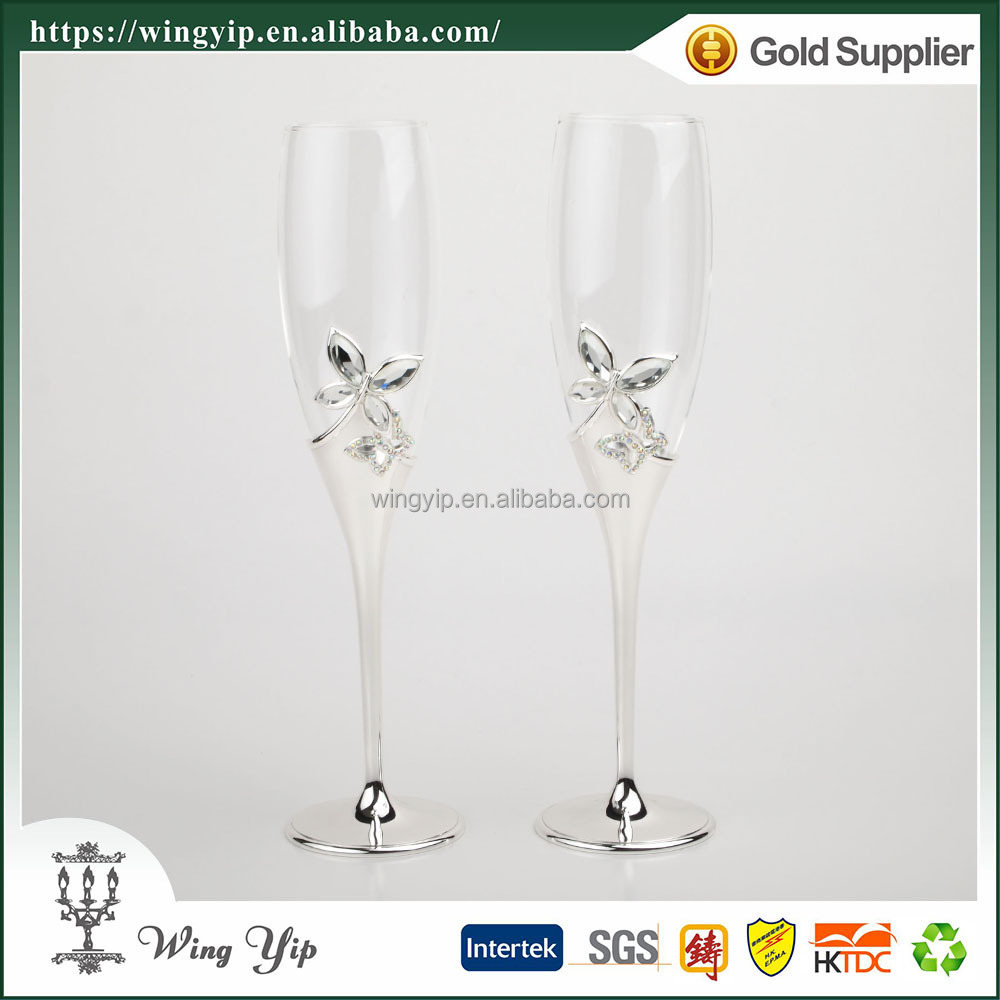 Wholesales Manufacturer Free sample metal Wedding gift Butterfly Silver Plated Champagne Flute
