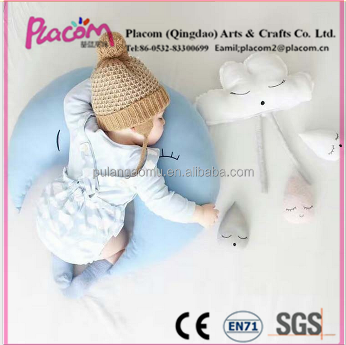 Soft Comfortable Custom Cute Fashion High quality Baby toys and gifts plush Pillows shaped in moon