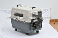 Extra large plastic multifunctional pet cage for travel with two handle and wheels